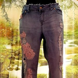 Custom Order Pretty In Pink Lace Applique Jeans